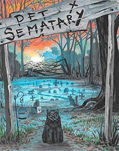 11x14 INCH PRINT OF ORIGINAL PAINTING STEPHEN KING RYTA PET SEMETERY CEMETERY BLACK CAT HALLOWEEN ILLUSTRAION SCARY SPOOKY AUTUMN SEASONAL FINE WALL ART GHOST SPIRIT -
