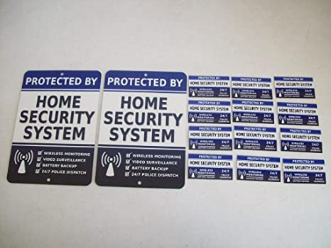2 Home Security Alarm System Metal Yard Signs 12 Window Stickers Stock 713