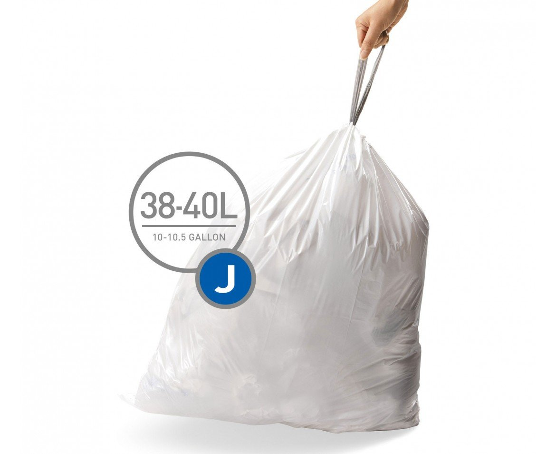 simplehuman BULK VALUE PACK Code J Custom Fit Trash Can Liner 30-45 L / 8-12 Gallon, 200 Pack
