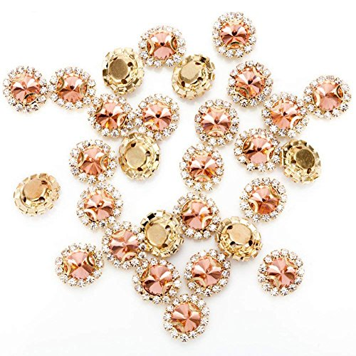 Buttons Bright (Premium Crystal Rhinestones Sew on, 50Pcs Bright Flatback Beads Buttons with Diamond, DIY Craft Perfect for Clothes Garment, Clothing, Bags, Shoes, Dress, Wedding Party Decoration (Rose Gold))