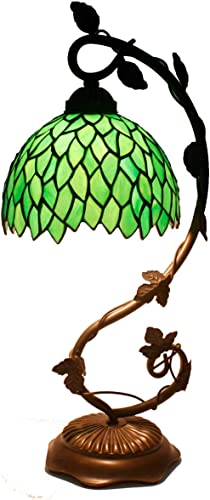 Tiffany Lamp Stained Glass Table Reading Night Light Green Wisteria Style W8H20 Inch S523 WERFACTORY LAMPS Living Room Bedroom Office Study Coffee Bar Dresser Bookcase Desk Bedside Antique Crafts Gift