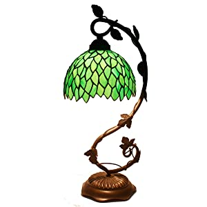 Tiffany Lamp Stained Glass Table Lamps Green Wisteria Style Coffee Table Reading Light W8H21 Inch for Living Room Bedroom Antique Dresser Bookcase Desk Beside S523 WERFACTORY