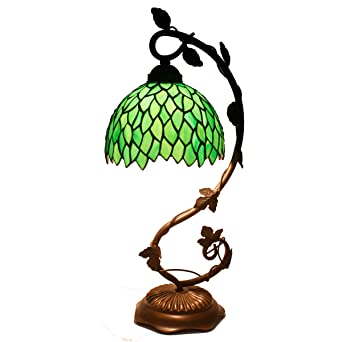 Tiffany Lamp Stained Glass Table Lamps Green Wisteria Style Coffee