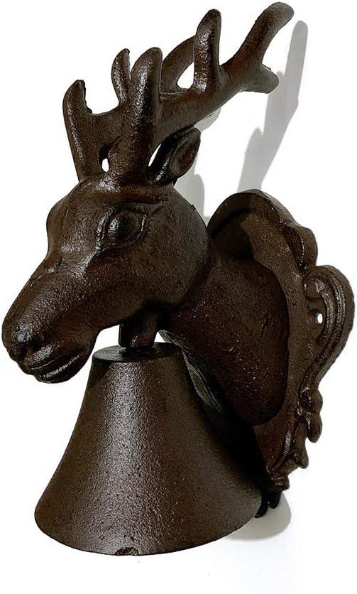 壁掛け ドアベルレトロは、馬の頭の鹿頭ベル牧歌的なホームガーデンへようこそ 庭の装飾 (色 : Brass, Size : One size)