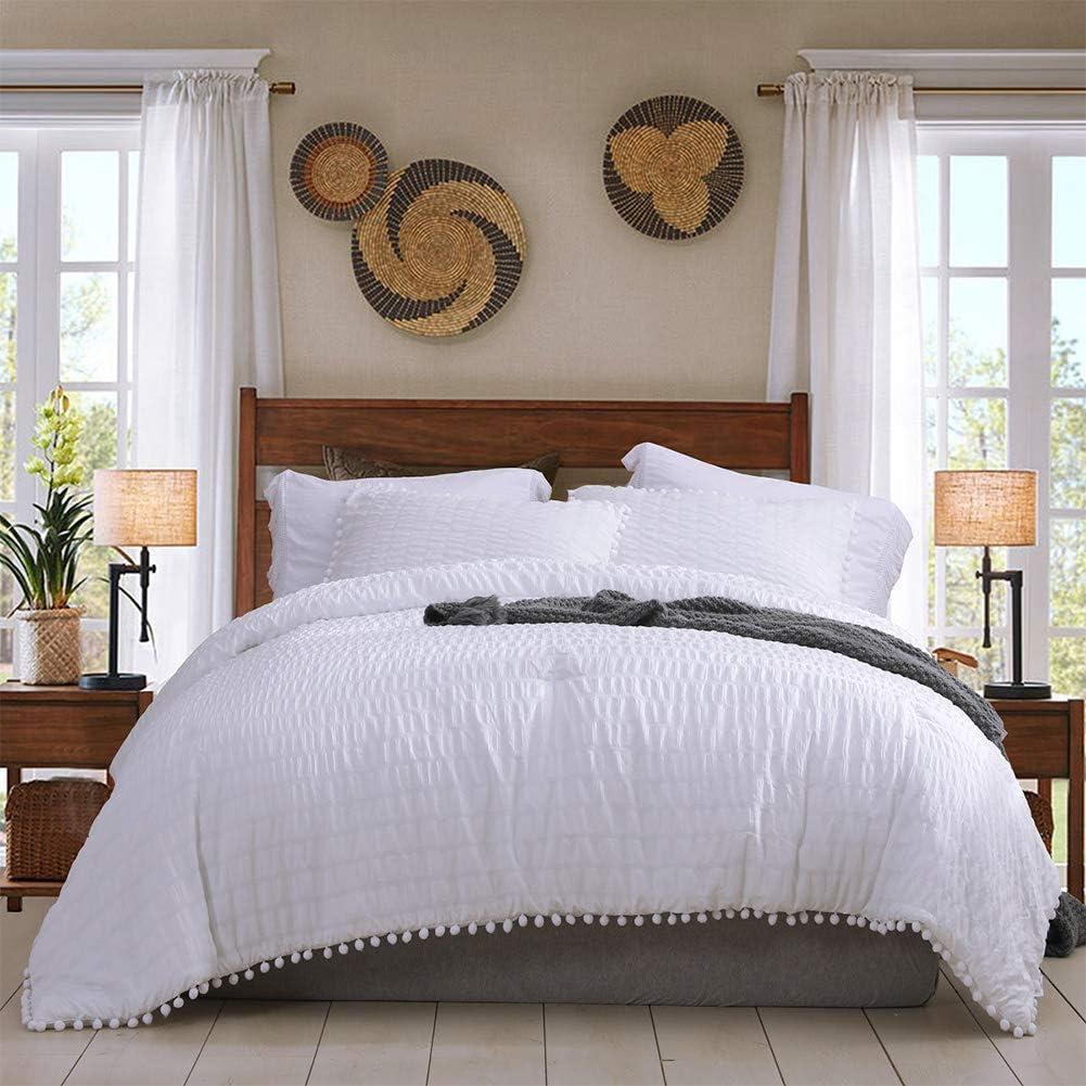 White Queen Pom Pom Comforter Set