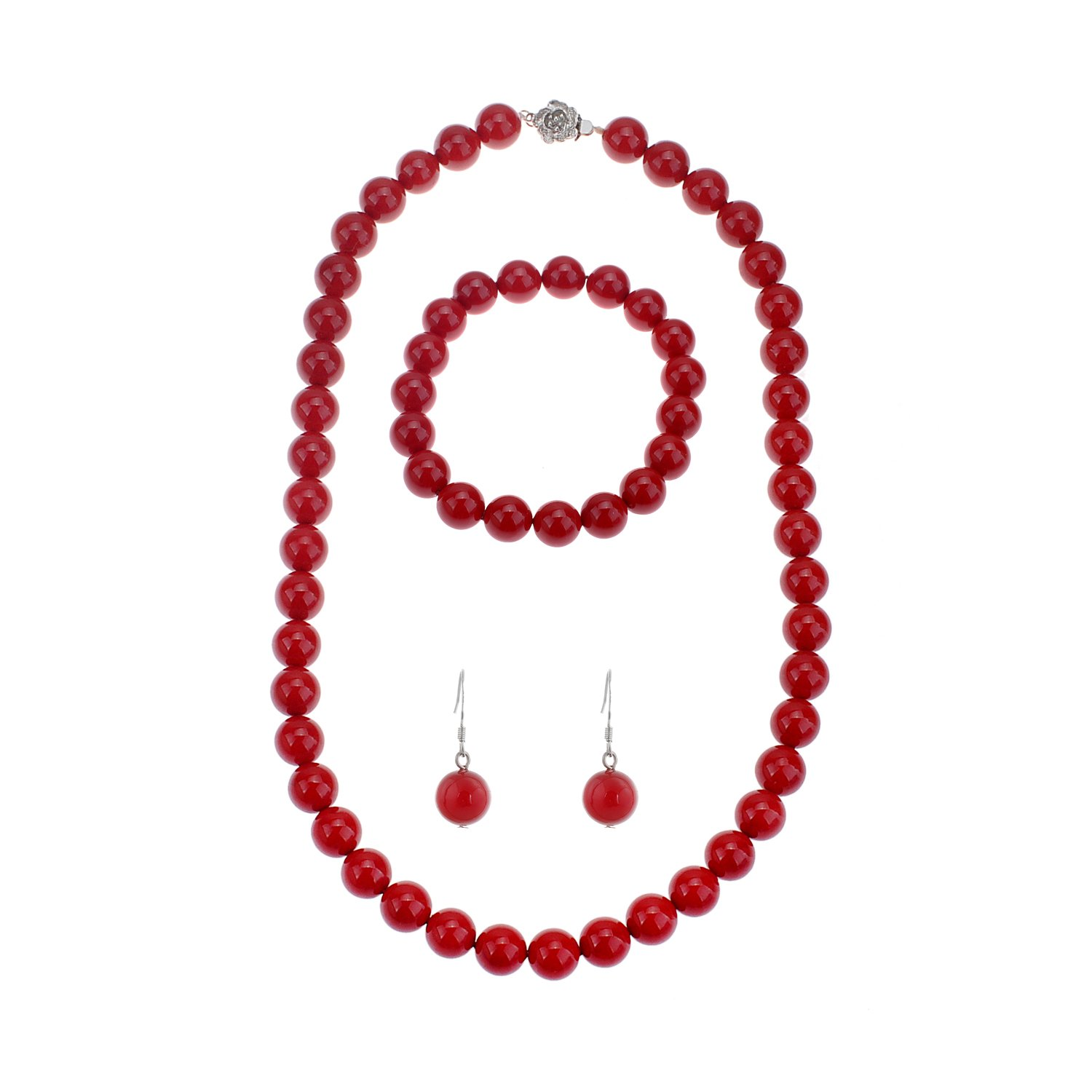 lureme Fashion Style Pearl Elastic Necklace Bracelet Dangle Earring Set-Red(09000649-7)