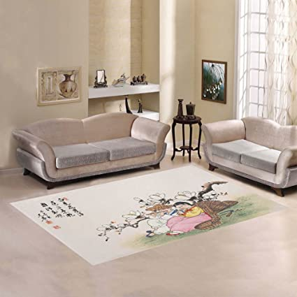 Amazon InterestPrint Home Decoration Asian Traditional Painting Stunning Living Room Carpets Rugs Painting