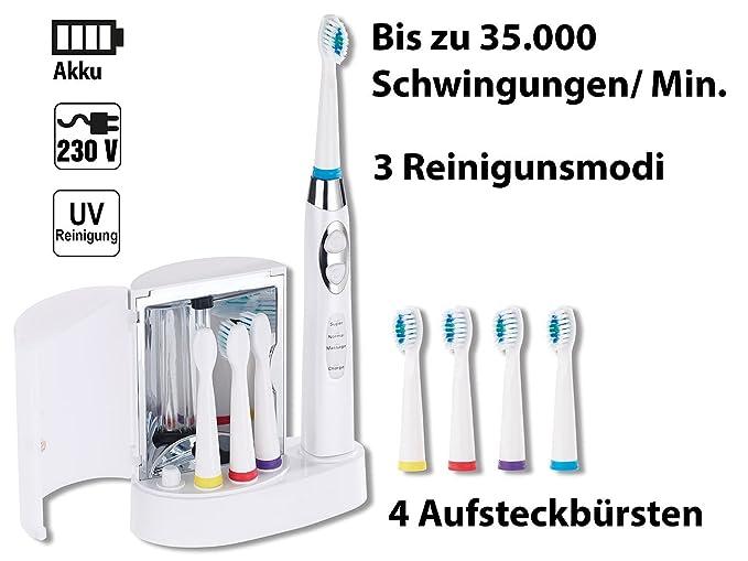 Newgen Medicals - Cepillo de dientes eléctrico: afeitadora. cepillo con base de carga, Esterilizador ultravioleta, 4 Cepillos (Cepillo de dientes eléctrico ...