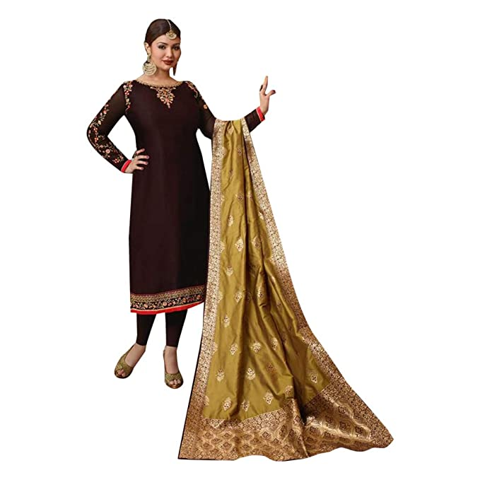 2ff11cce1a Image Unavailable. Image not available for. Colour: Dark Chocolate Designer  Evening Cocktail dress Satin Georgette Salwar Kameez Women ...