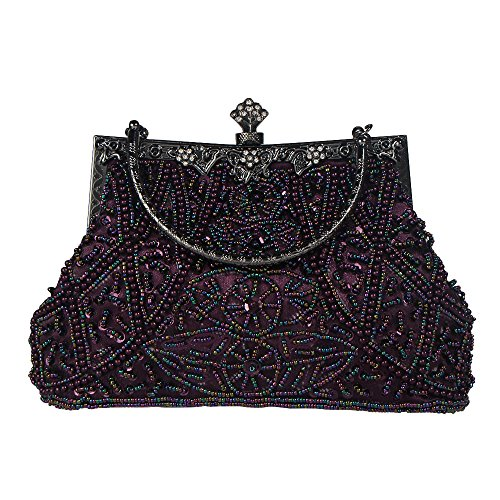 (Bagood Women's Vintage Style Beaded And Sequined Evening Bag Wedding Party Handbag Clutch)