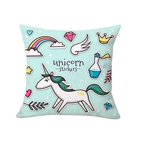 Cartoon unicornio Impresión funda de almohada cama sofá ...