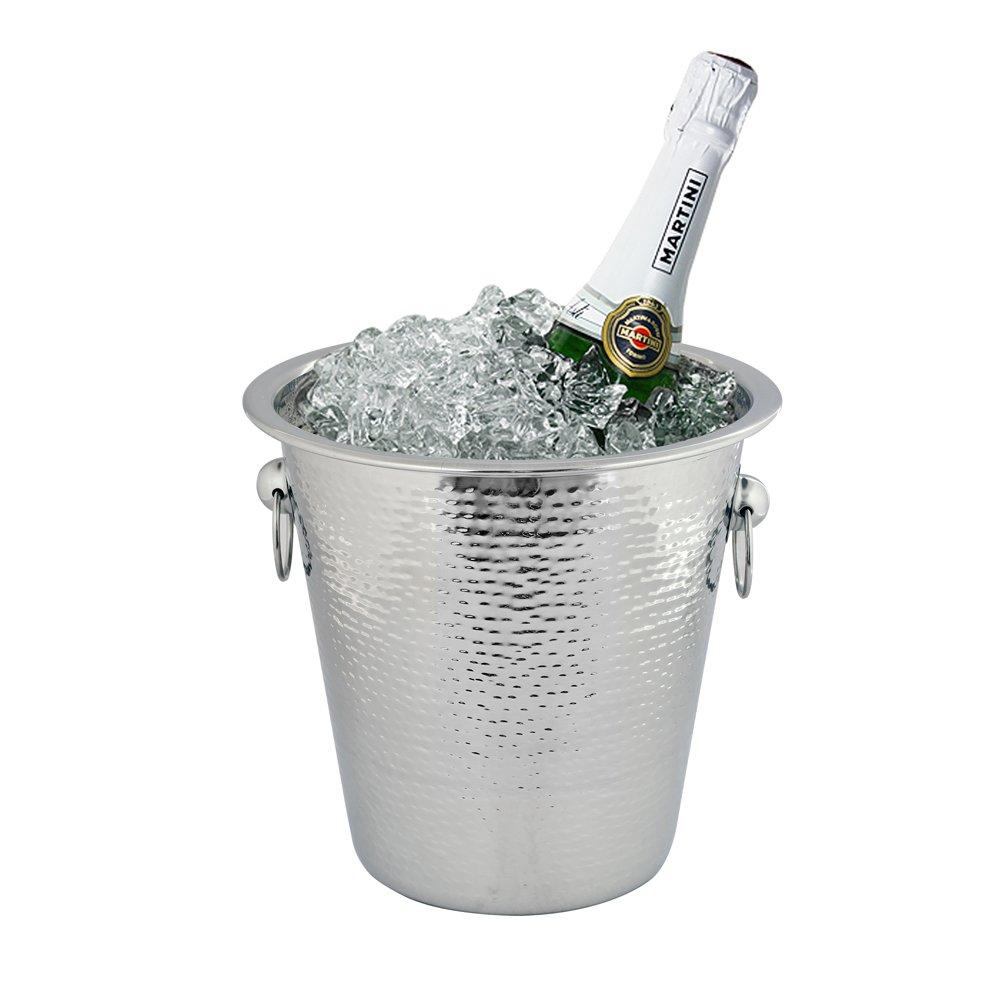 Kosma Stainless Steel Champagne Bucket | Beverage bucket (Hammered Finish) - 21 x 21cm
