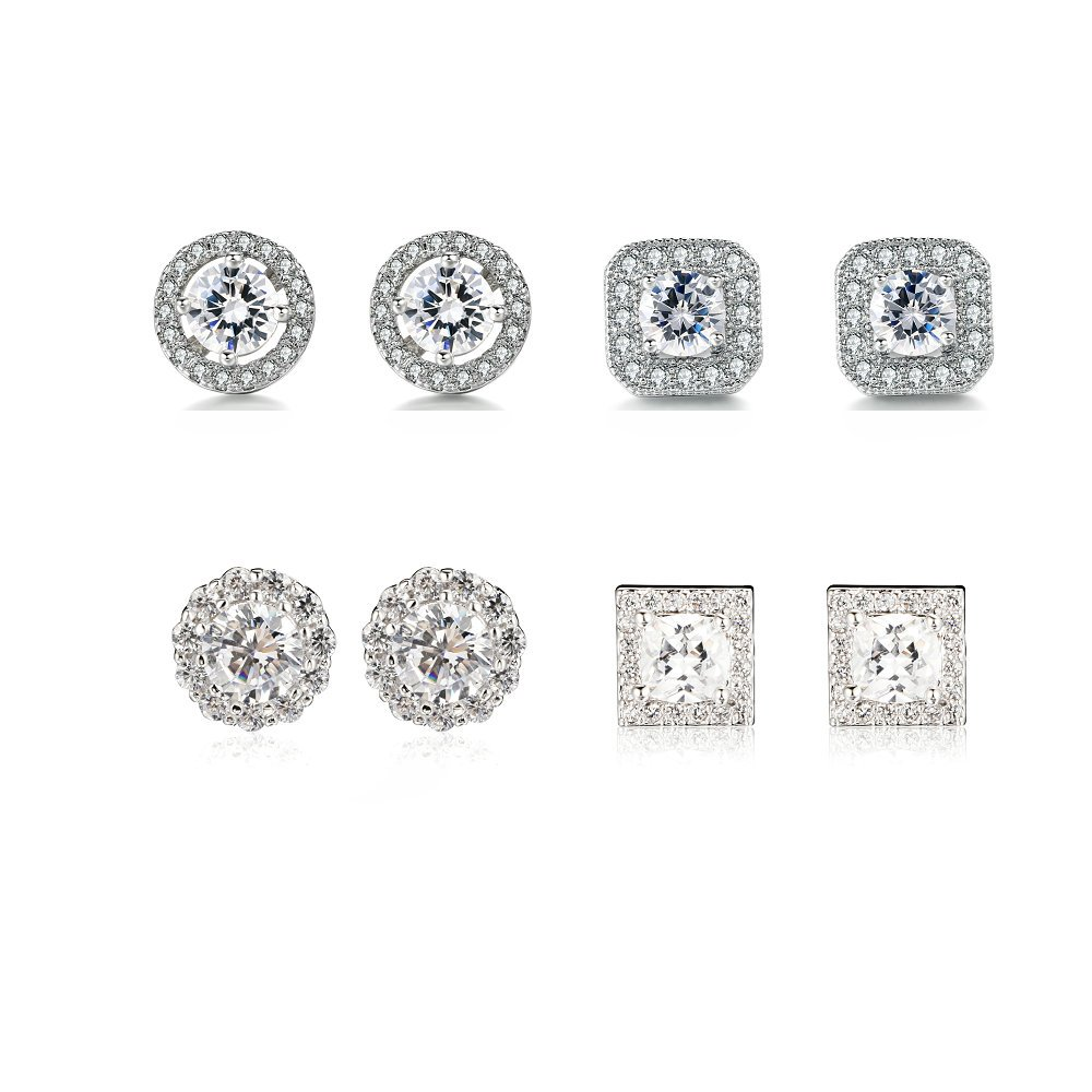 Herinos Womens Cubic Zirconia Stud Halo Earrings Set 4 Pairs Platinum Plated Round and Square Silver for Girls