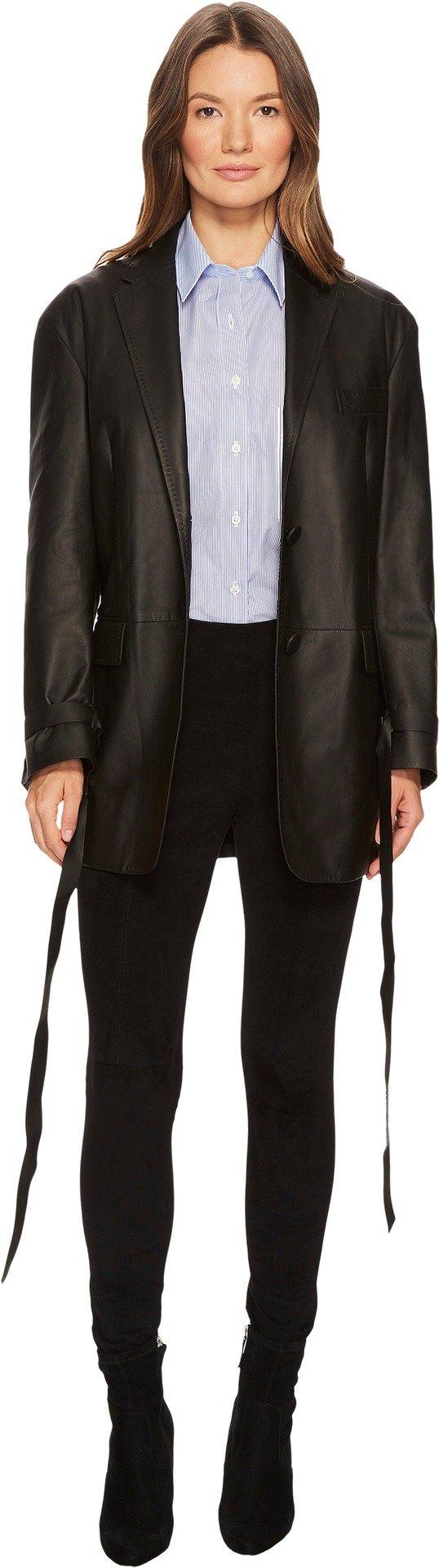 Neil Barrett Women's Fine Nappa 0.3 Open Leather Jacket Black Large