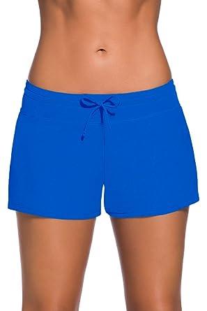 b76b66d3caba3 Aleumdr Königsblau Damen Wassersport UV-Schutz Schwimmen Badehose  Bikinihose Badeshorts Schwimmshortse Small