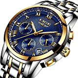 Mens Watches Men's Fashion Business Quartz Watch Mens Luxury Chronograph Wrist Watches Men Sports Watch for Men with Steel Strap Date Waterproof (Blue A)