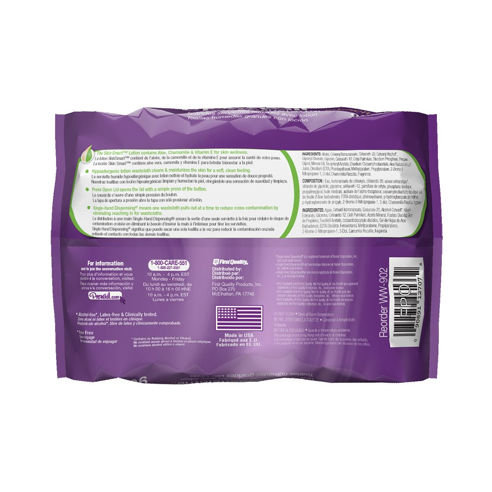 Amazon.com: Prevail Scented Washcloths Large Tub, 12 x 8 Inch, 96 Count (Pack of 6): Health & Personal Care