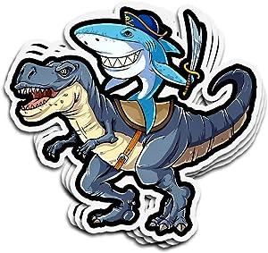 Hanabi 3 PCs Stickers Shark Riding Dinosaur T Rex Pirate Jawsome 3×4 Inch Die-Cut Wall Decals for Laptop Window