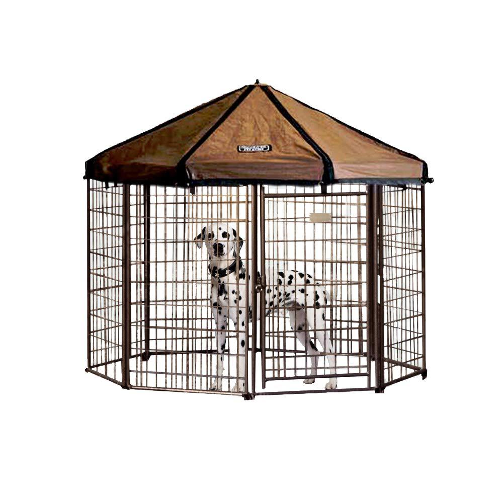 Advantek Pet Gazebo Outdoor Metal Dog Kennel with Reversible Cover, 5 Foot by Advantek