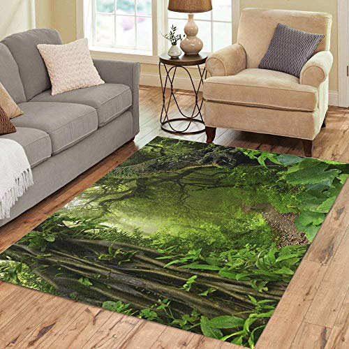 Pinbeam Area Rug Green Forest Asian Tropical Jungle Rainforest Swamp Tree Home Decor Floor Rug 3' x 5' Carpet