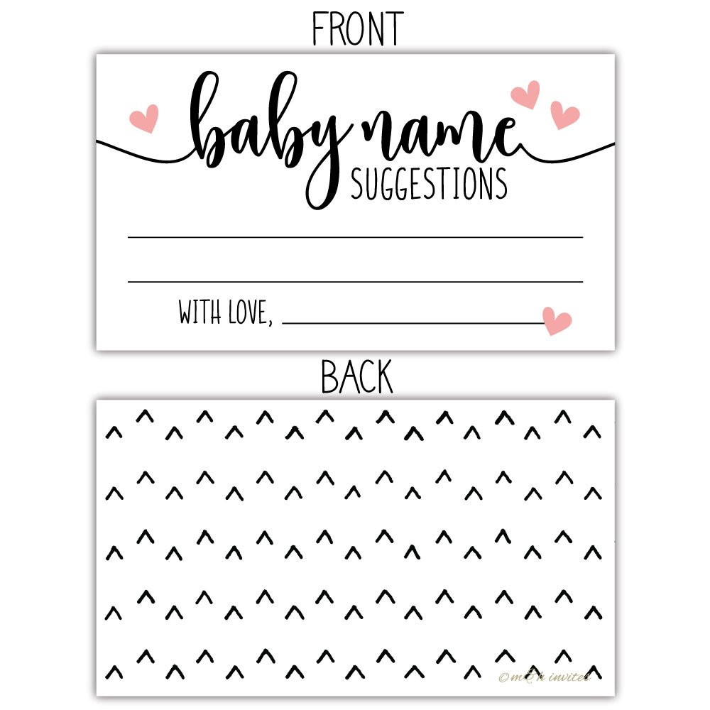 50 Sweet Heart Baby Name Suggestion Cards for Baby Shower