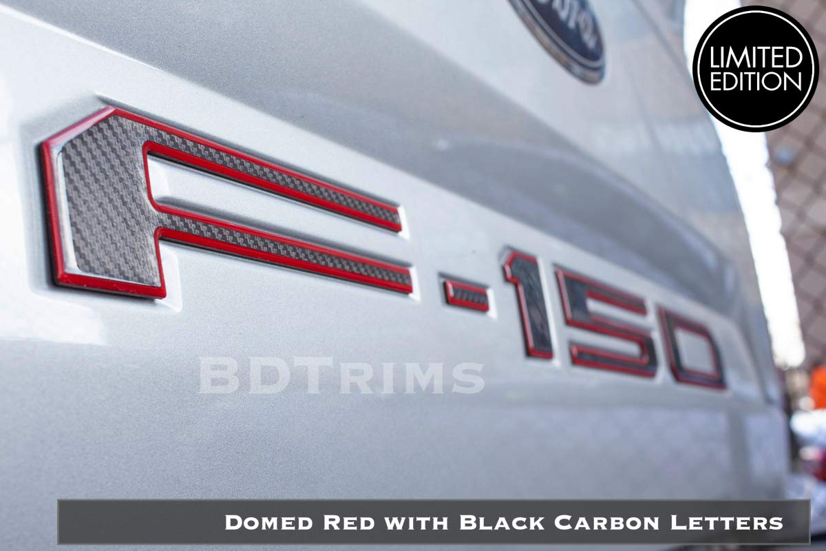 BDTrims | Domed Raised Tailgate Letters Inserts fits 2018 2019 F-150 Models (Red Outline/Carbon)
