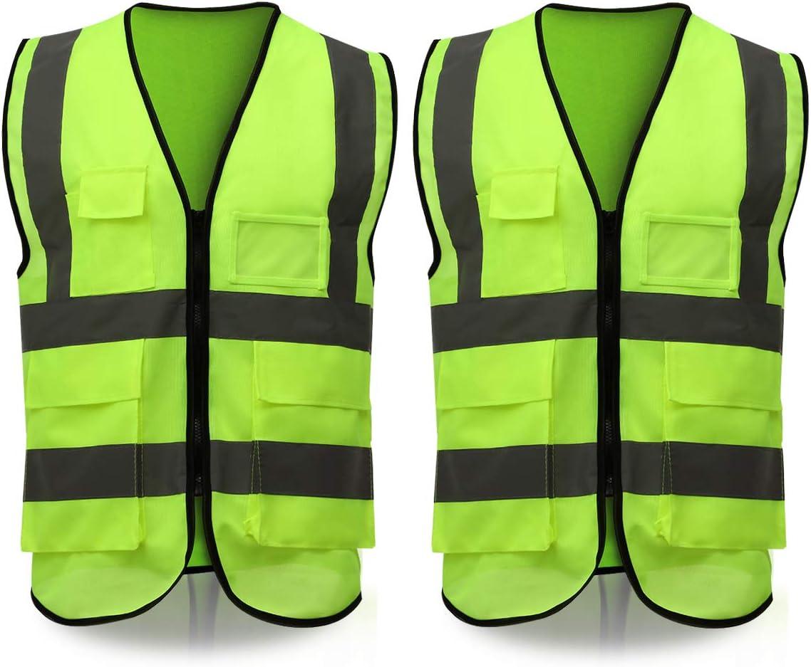 Eluto Warnweste En471 Warnwesten Auto Sicherheitsweste 360 Grad Reflektierende Warnschutzweste Für Auto Kfz Fahrrad Motorrad Mit Phone Id Taschen 2 Stück Baumarkt