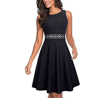 TheUniqueHouse Vintage Elegant Embroidery Floral Lace Vestidos Women Party Flare Swing Dress,Black,S