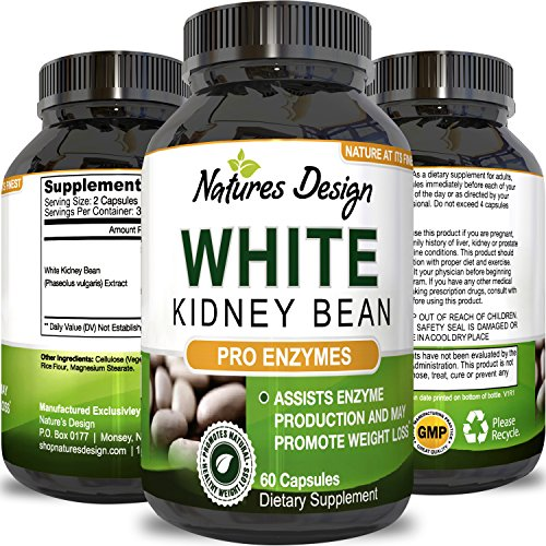Pure White Kidney Bean Extract- 100% Effective and Optimized for Weight Loss - Carb Blocker and Prevents Fat From Forming - USA Made By Natures - Carb Burner