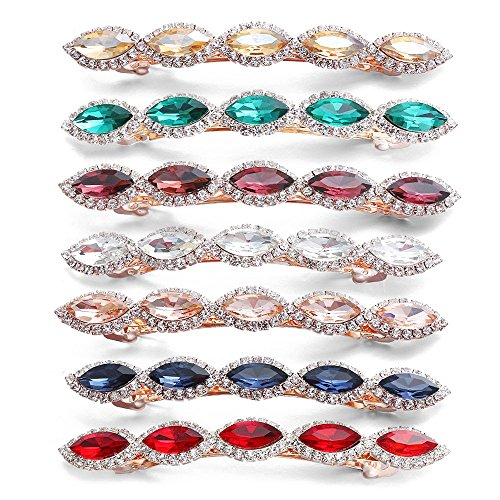 Women Korean Crystal Rhinestone Barrette,7Pcs Colorful Rhinestone Hair Clips Clamps Jewelry Hair Accessories