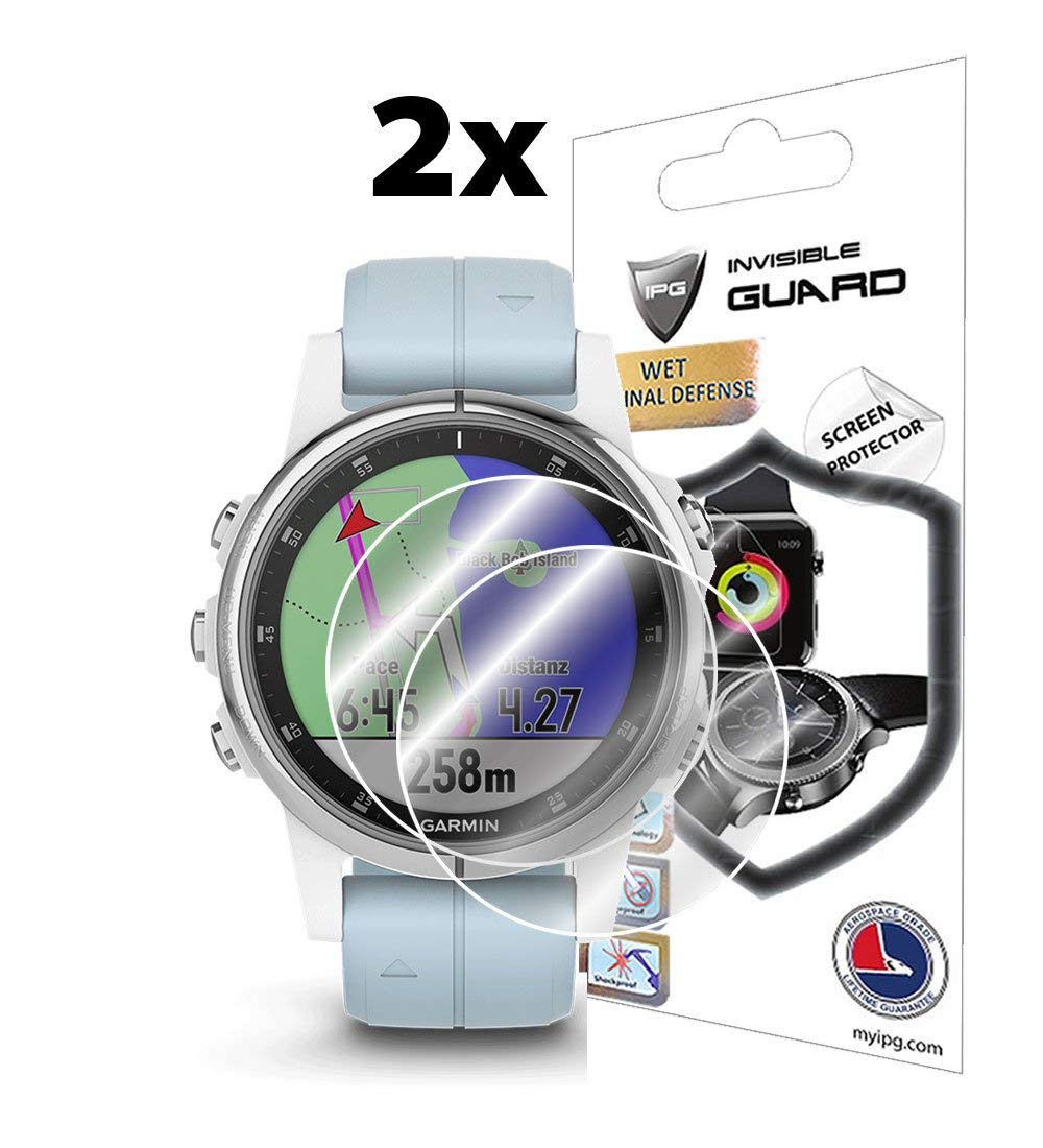 IPG for Garmin Fenix 5S Plus (42MM) Screen Protector (2X) Smartwatch Screen Protector Invisible Ultra HD Clear Film Anti Scratch Skin Guard - ...