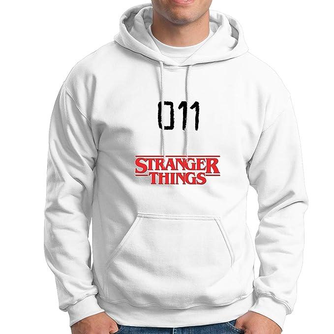 JEMASHOP Sudadera con Capucha Blanca Stranger Things. 011. Eleven. Logo (XS-