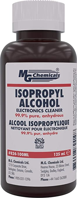 MG Chemicals 99 9% Isopropyl Alcohol Electronics Cleaner, 125 mL Bottle