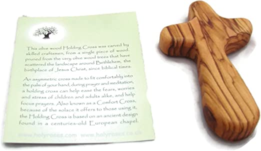 Certificate HJW Olive Wood Holding Hand Palm Comfort Cross Holyland