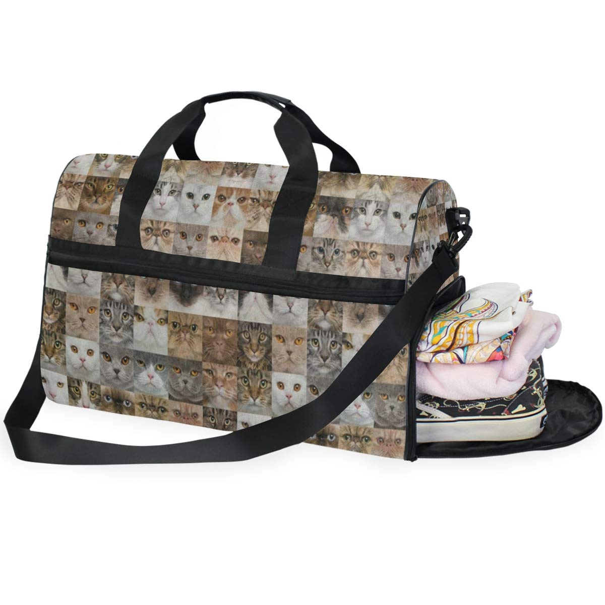 Travel Tote Luggage Weekender Duffle Bag Cute Cat Kitten Head Large Canvas shoulder bag with Shoe Compartment
