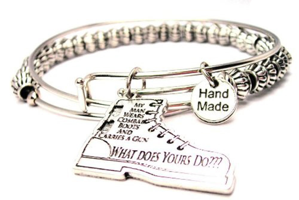 My Man Wears Combat Boots and a Carries a Gun Pewter Beaded Bangle Bracelets