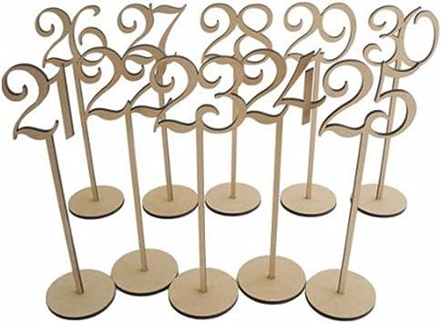 Pixnor Número de madera de mesa de boda palos con Base de 8 x 35cm ...