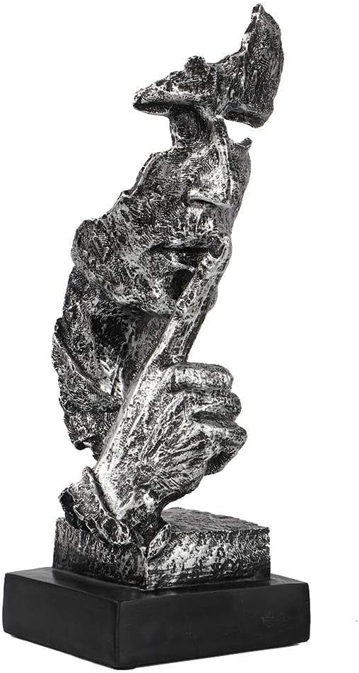 Silver Face Sculpture Resin Statue Abstract Modern Art Figurines Statue Carving Statues for Home Living Room Office Decor Wifehelper Silence is Golden