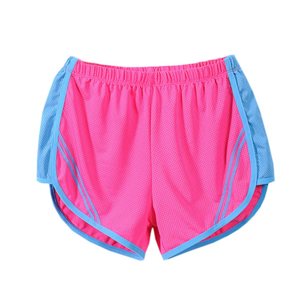 TRENDINAO Women Yoga Sports Shorts, Womens Running Quick Dry Sport Short Fitness Athletic Apparel Pants Hot Pink