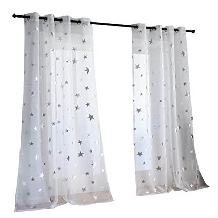 Kotile Silver Star Print Curtains 2 Panels 84 Inches Long for Kids Bedroom,  Grommet Top White Sheer Window Curtains for Living Room