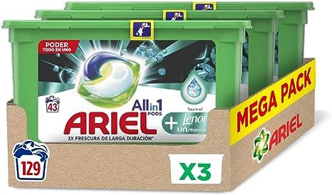 TALLA 129 Lavados. Ariel Pods Detergente Lavadora Cápsulas, 129 Lavados (Pack 3 x 43) con Lenor UNstoppables