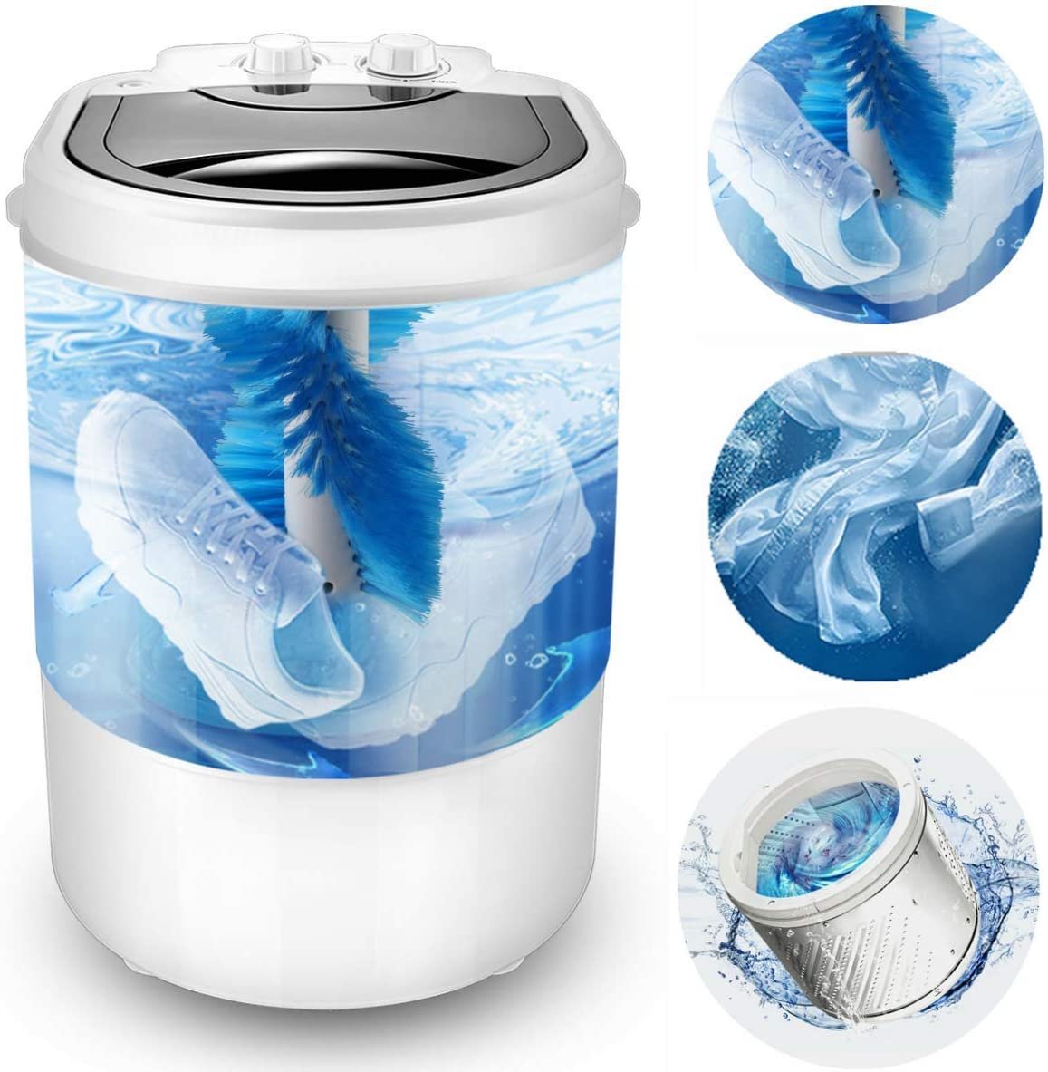 Multi-Function Portable Mini Shoes Washing Machine,Semi-Automatic,Three functions of washing shoes washing Clothes Spin-Dry,9.9 lbs Capacity
