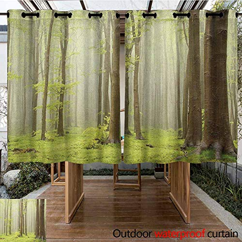 AndyTours Grommet Outdoor Curtains,Woodland,Misty Springtime Beech Forest Photo Taken in The Mountains of Central Europe,Waterproof Patio Door Panel,K140C100 Brown Green