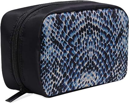 Bolso de aseo Lona Azul Blanco Negro Textura de piel de serpiente Wonder Woman Bolso de