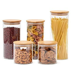 EZOWare 5 Piece Glass Jar Air tight Canister Kitchen Food Storage Container Set with Bamboo Lids