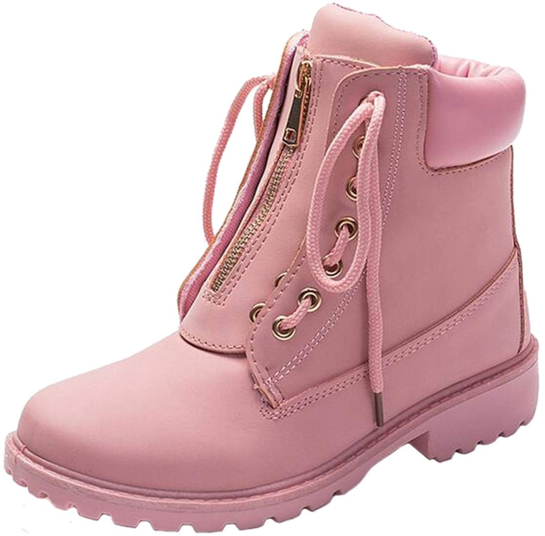 PPXID Women's Outdoor Zip Lace Up Trekking Combat Ankle Boots-Pink 6 US Size