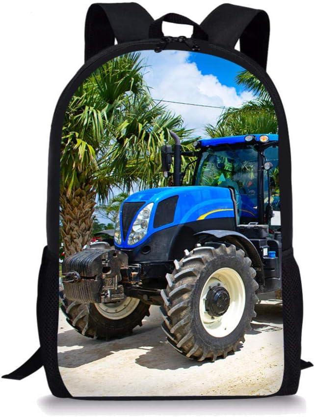 Sac /à Dos pour Ordinateur Portable pour Jeunes Impression Cartable Bleu Grand Tracteur,Cartable d/école /él/émentaire