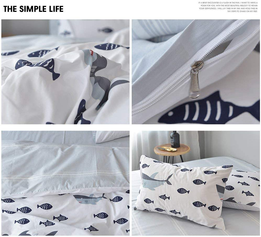 HIGHBUY Kids Shark Fish Print Twin Duvet Cover Set 3 Piece Premium Cotton Bedding Sets Twin for Boys Girls Reversible Ocean Bedding Comforter Cover with Reversible Stripe Pattern HB16066style01T
