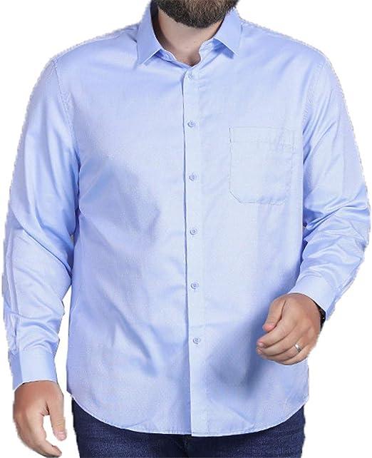 NINEONE Fat Man Camisa de Manga Larga Plus Fertilizer XL Loose Business Casual Camisa de Manga Larga para Hombres 2XL-8XL 4XL: Amazon.es: Hogar