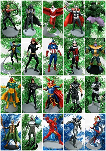 AVENGERS Complete Team 22 Piece Christmas Ornament Set Featuring Captain, Iron Man, Loki, Black Widow, Black Panther, Hawkeye, Ant-Man, Doctor Strange Special Random Avenger Vinyl Ornaments & More -